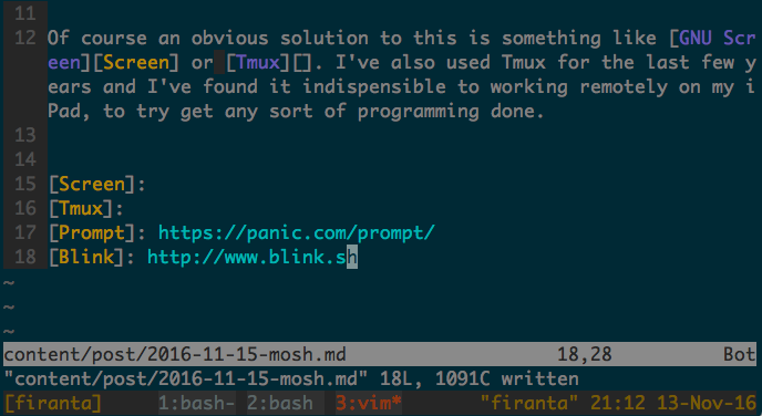Tmux session writing this post in Vim